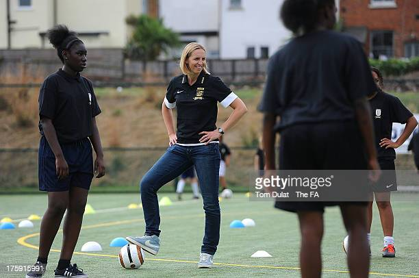 Former football player Faye White takes part in activities during The FA's Sir Bobby Robson National Football Day at Kings College Sports Ground on...