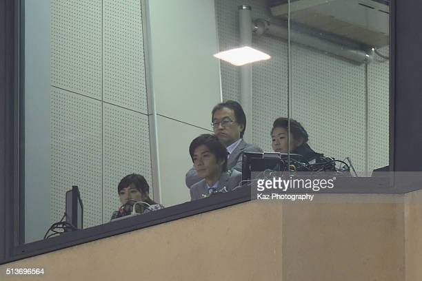 Former football player Homare Sawa looks on during the AFC Women's Olympic Final Qualification Round match between Japan and China at Kincho Stadium...