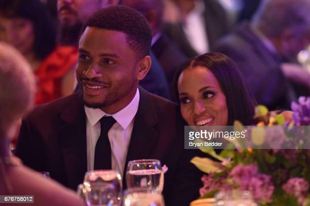Former football player Nnamdi Asomugha and Honoree Kerry Washington attend the Bronx Children's Museum Gala at Tribeca Rooftop on May 2 2017 in New...
