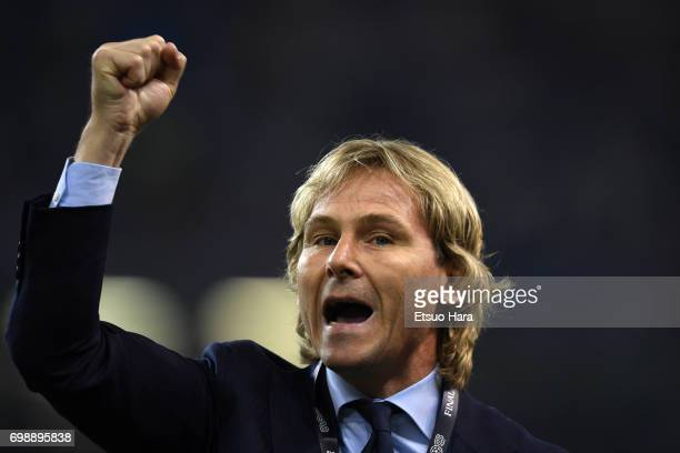Former football player Pavel Nedved is seen prior to the UEFA Champions League final match between Juventus and Real Madrid at National Stadium of...