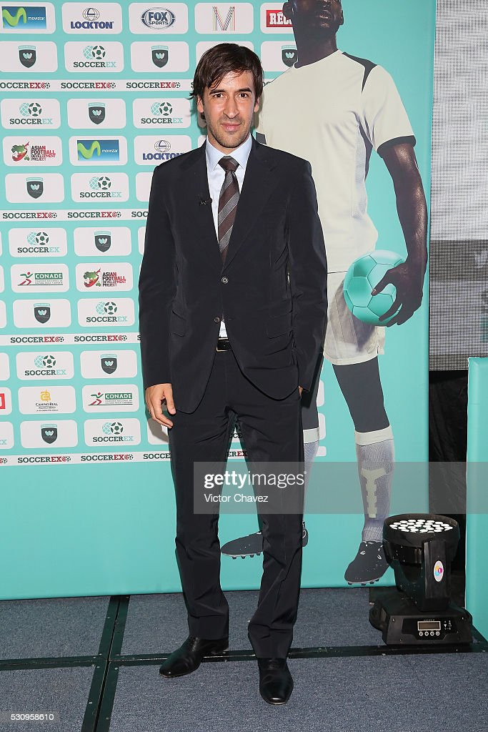 Former football player Raul attends a press conference during the Soccerex Americas Forum Mexico City Day 1 at Camino Real Polanco Hotel on May 11...