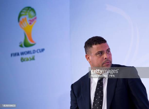 Former football player Ronaldo Luis Nazario 2014 FIFA World Cup Brazil Organizing Committee Member attends a press conference of 2014 FIFA World Cup...