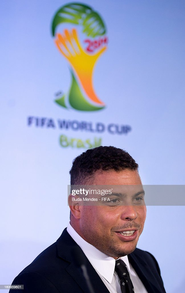 Former football player Ronaldo Luis Nazario, 2014 FIFA World Cup Brazil Organizing Committee (LOC) Member attends a press conference of 2014 FIFA World Cup Brazil LOC Board meeting on October 10, 2013 in Rio de Janeiro, Brazil.
