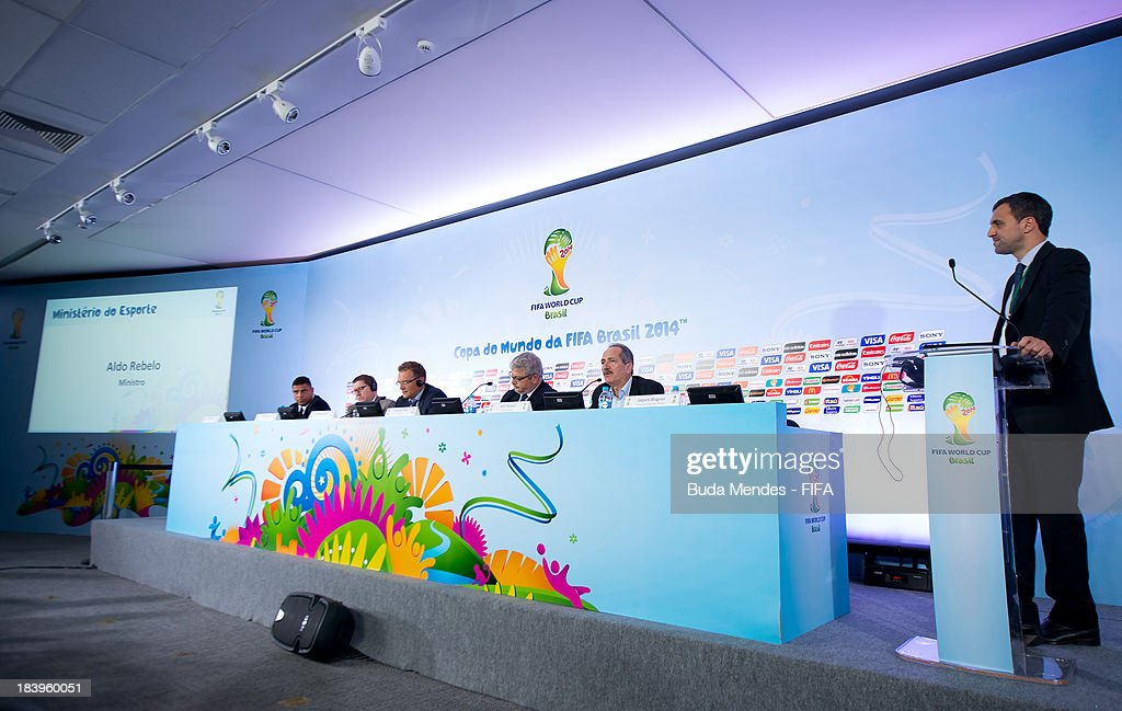 Former football player Ronaldo Luis Nazario, 2014 FIFA World Cup Brazil Organizing Committee (LOC) Member, FIFA Marketing Director Thierry Weil, FIFA Secretary General, Jerome Valcke, CEO of the 2014 FIFA World Cup Brazil Organizing Committee (LOC) Ricardo Trade and Brazil's Sports Minister Aldo Rebelo attend the press conference of 2014 FIFA World Cup Brazil LOC Board meeting on October 10, 2013 in Rio de Janeiro, Brazil.