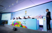 Former football player Ronaldo Luis Nazario 2014 FIFA World Cup Brazil Organizing Committee Member FIFA Marketing Director Thierry Weil FIFA...