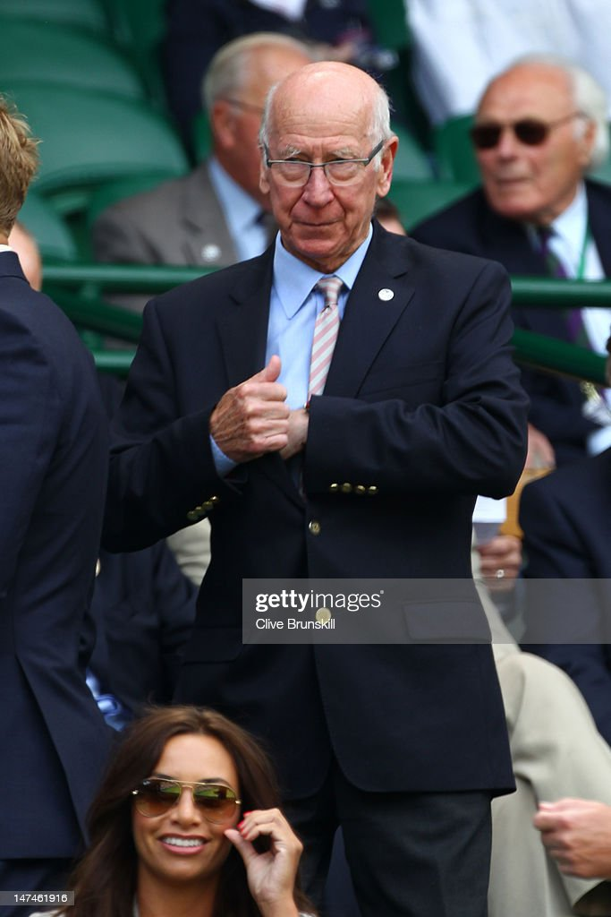 Former football player Sir Bobby Charlton attends the Ladies' Singles third round match Serena Williams of the USA and Jie Zheng of China on day six of the Wimbledon Lawn Tennis Championships at the All England Lawn Tennis and Croquet Club at Wimbledon on June 30, 2012 in London, England.
