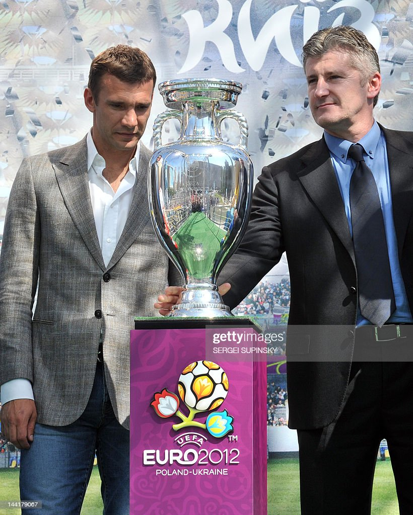 Former football player, UEFA ambassador Davor Suker (R) and the Ukrainian National football team captain Andriy Shevchenko attend at EURO 2012 tournament cup during the ceremony of the presentation on Independence square in Kiev on May 11, 2012 Along with tournament co-hosts Poland and Ukraine, European football's governing body UEFA has organised a five-week trophy tour in cities across the two countries.