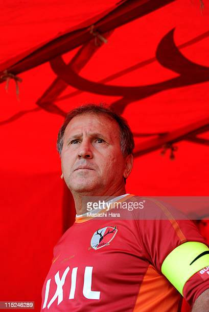 Former football player Zico of Antlers Legend looks on during the 'Smile Again Yell From Kashima' charity match at Kashima Stadium on June 4 2011 in...