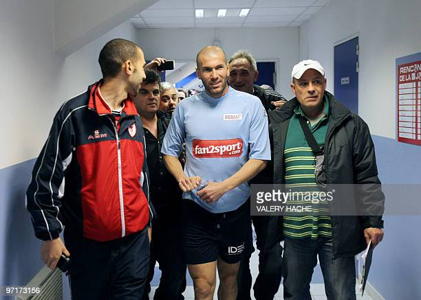 Former football player Zinedine Zidane arrives to participate in 'Luis Fernandez jubilee' football match on February 28 2010 at the Coubertin Stadium...
