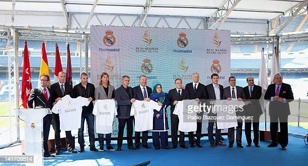Former football player Zinedine Zidane Real Madrid players Karim Benzema Sergio Ramos coach Jose Mourinho Representative of the government of the...