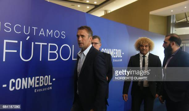 Former Argentine players Gabriel Batistuta and Carlos Valderrama arrive at the Conmebol headquarters in Luque Paraguay on May 17 2017 to participate...