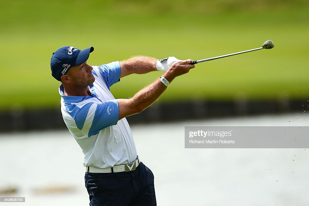 Former Footballer <a gi-track='captionPersonalityLinkClicked' href=/galleries/search?phrase=Alan+Shearer&family=editorial&specificpeople=157676 ng-click='$event.stopPropagation()'>Alan Shearer</a> hits an approach shot during a pro-am round ahead of the 100th Open de France at Le Golf National on June 29, 2016 in Paris, France.
