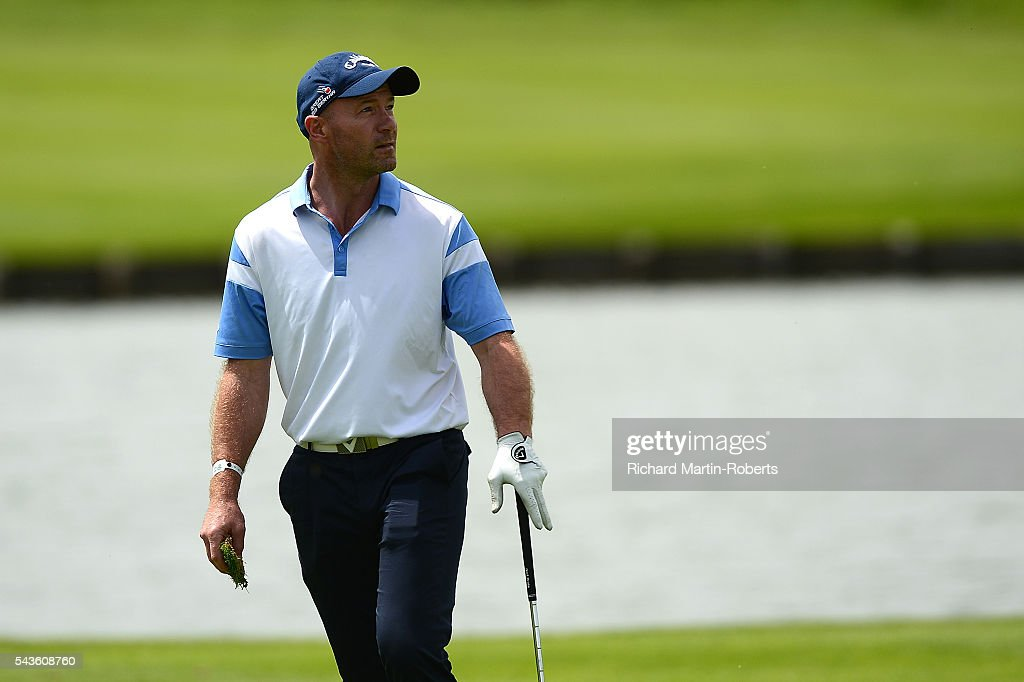 Former Footballer <a gi-track='captionPersonalityLinkClicked' href=/galleries/search?phrase=Alan+Shearer&family=editorial&specificpeople=157676 ng-click='$event.stopPropagation()'>Alan Shearer</a> looks on during a pro-am round ahead of the 100th Open de France at Le Golf National on June 29, 2016 in Paris, France.