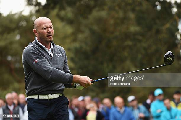 Former Footballer Alan Shearer tees off during the ProAm ahead of the BMW PGA Championship at Wentworth on May 20 2015 in Virginia Water England