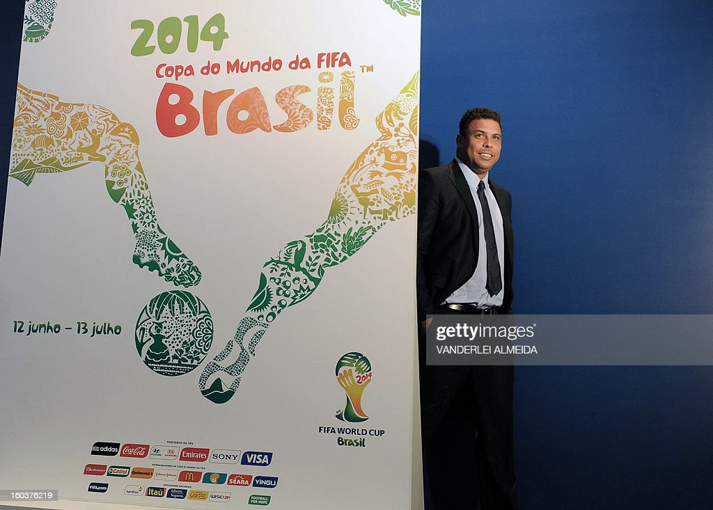 Former footballer and member of the WC2014 Local Organizing Committee Ronaldo Nazario during the presentation of the official poster of the FIFA WC Brazil 2014 in Rio de Janeiro, Brazil, on January 30, 2013.