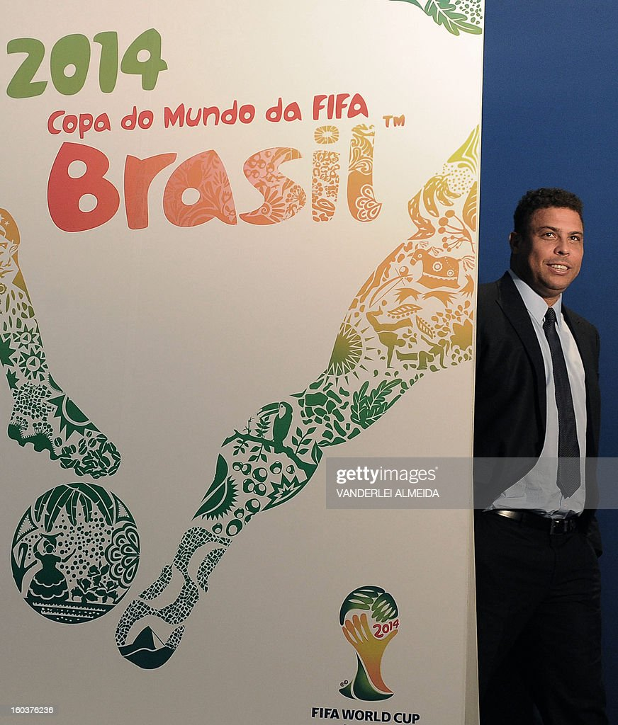 Former footballer and member of the WC2014 Local Organizing Committee Ronaldo Nazario during the presentation of the official poster of the FIFA WC Brazil 2014 in Rio de Janeiro, Brazil, on January 30, 2013. AFP PHOTO/VANDERLEI ALMEIDA