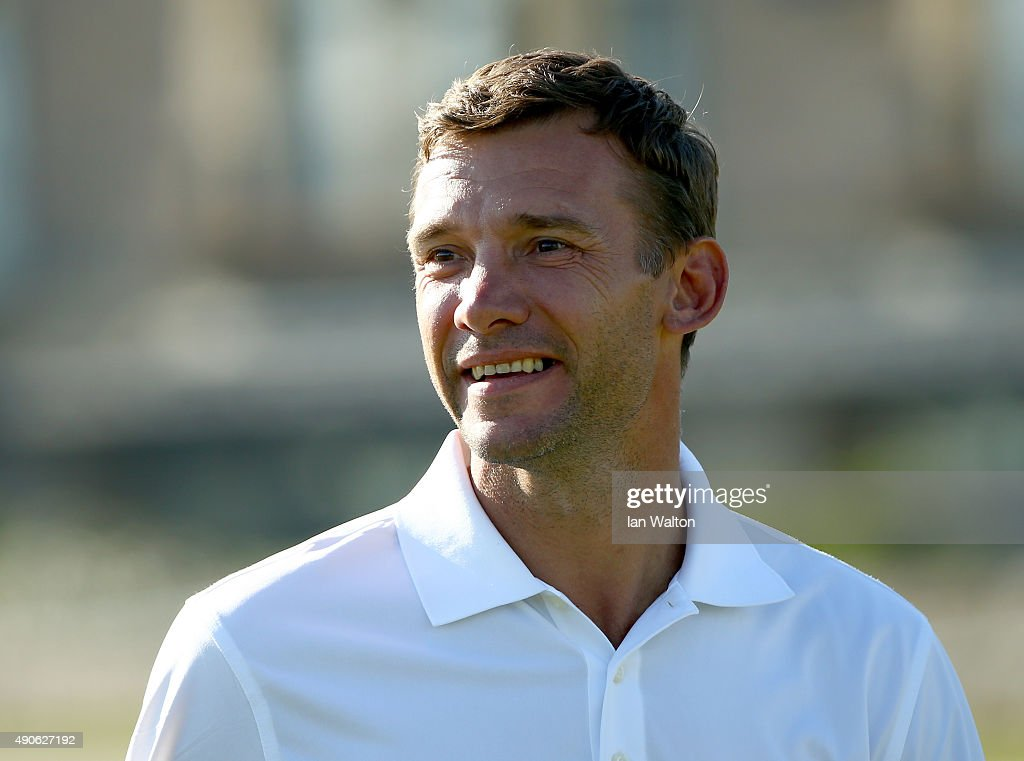 Former footballer <a gi-track='captionPersonalityLinkClicked' href=/galleries/search?phrase=Andriy+Shevchenko&family=editorial&specificpeople=220501 ng-click='$event.stopPropagation()'>Andriy Shevchenko</a> in action during the final practice round of the 2015 Alfred Dunhill Links Championship at The Old Course on September 30, 2015 in St Andrews, Scotland.