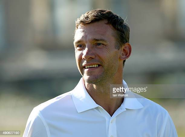 Former footballer Andriy Shevchenko in action during the final practice round of the 2015 Alfred Dunhill Links Championship at The Old Course on...