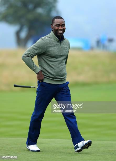 Former footballer Andy Cole during the pro am ahead of the British Masters at Close House Golf Club on September 27 2017 in Newcastle upon Tyne...