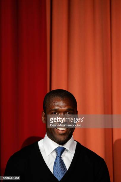 Former footballer Clarence Seedorf is pictured on stage during the Laureus European Workshop and Project Visit held at Almere Echnaton school on...