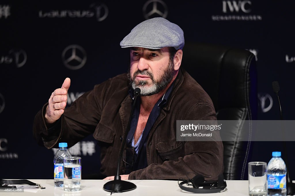Former Footballer <a gi-track='captionPersonalityLinkClicked' href=/galleries/search?phrase=Eric+Cantona&family=editorial&specificpeople=211325 ng-click='$event.stopPropagation()'>Eric Cantona</a> of France speaks during a press conference at the Shanghai Grand Theatre prior to the Laureus World Sports Awards on April 14, 2015 in Shanghai, China.