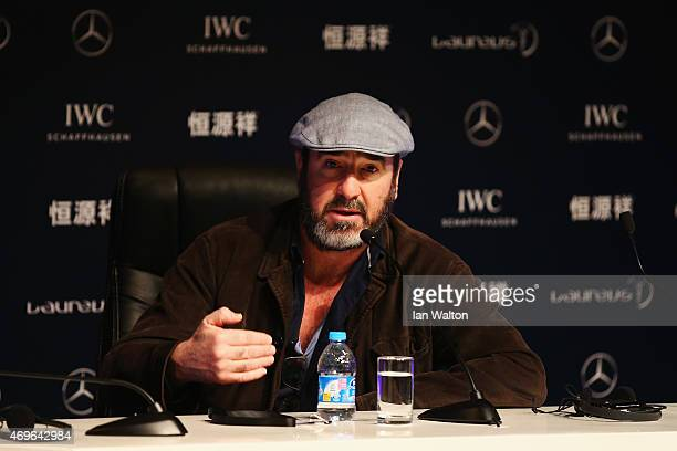 Former Footballer Eric Cantona of France speaks during a press conference at the Shanghai Grand Theatre prior to the Laureus World Sports Awards on...