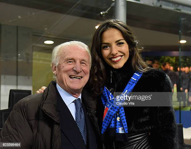 Former footballer Giovanni Trapattoni and showgirl Laura Barriales attend the International Friendly Match between Italy and Germany at Giuseppe...