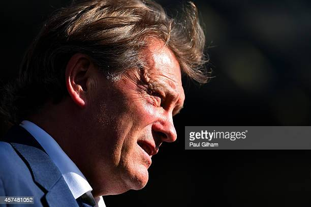 Former footballer Glenn Hoddle looks on before the Barclays Premier League match between Queens Park Rangers and Liverpool at Loftus Road on October...