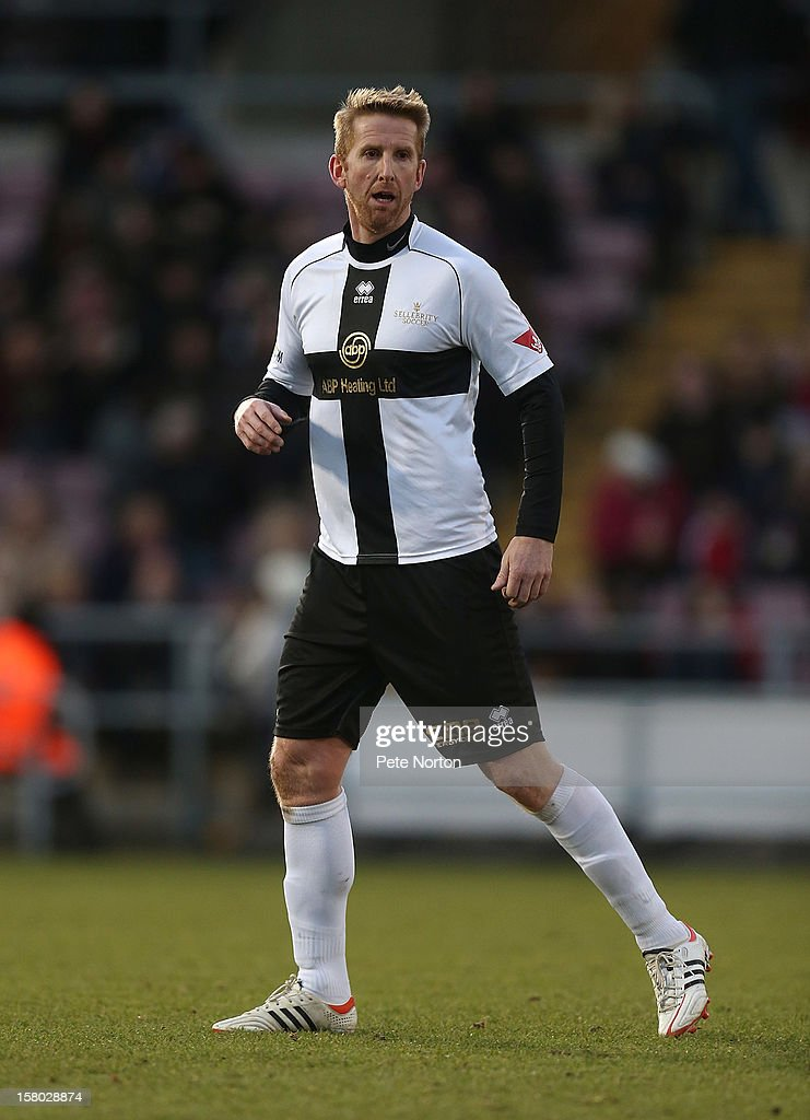 Former footballer Iwan Roberts in action during the William Hill Foundation Cup Celebrity Charity Challenge Match at Sixfields on December 9, 2012 in Northampton, England.