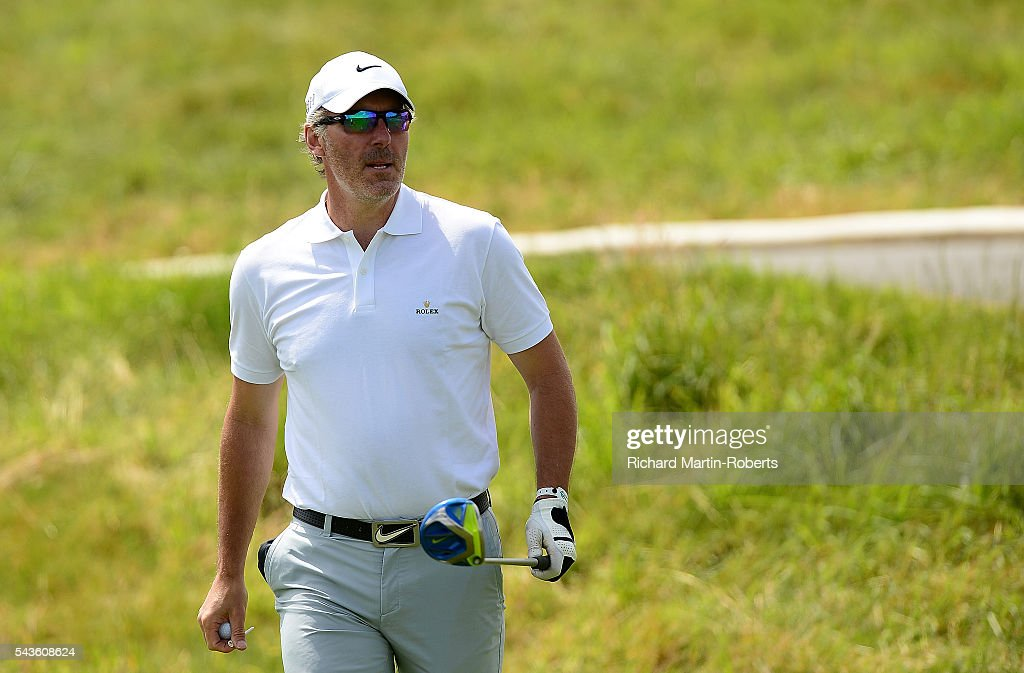 Former Footballer <a gi-track='captionPersonalityLinkClicked' href=/galleries/search?phrase=Laurent+Blanc&family=editorial&specificpeople=211209 ng-click='$event.stopPropagation()'>Laurent Blanc</a> looks on during a pro-am round ahead of the 100th Open de France at Le Golf National on June 29, 2016 in Paris, France.