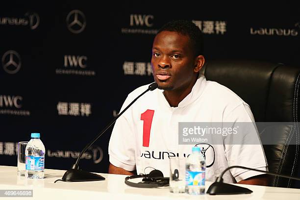 Former Footballer Louis Saha during a Goals For The Future for Football debate at the Shanghai Grand Theatre prior to the Laureus World Sports Awards...