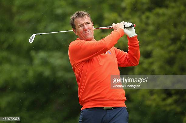 Former Footballer Matt Le Tissier hits a shot during the ProAm ahead of the BMW PGA Championship at Wentworth on May 20 2015 in Virginia Water England