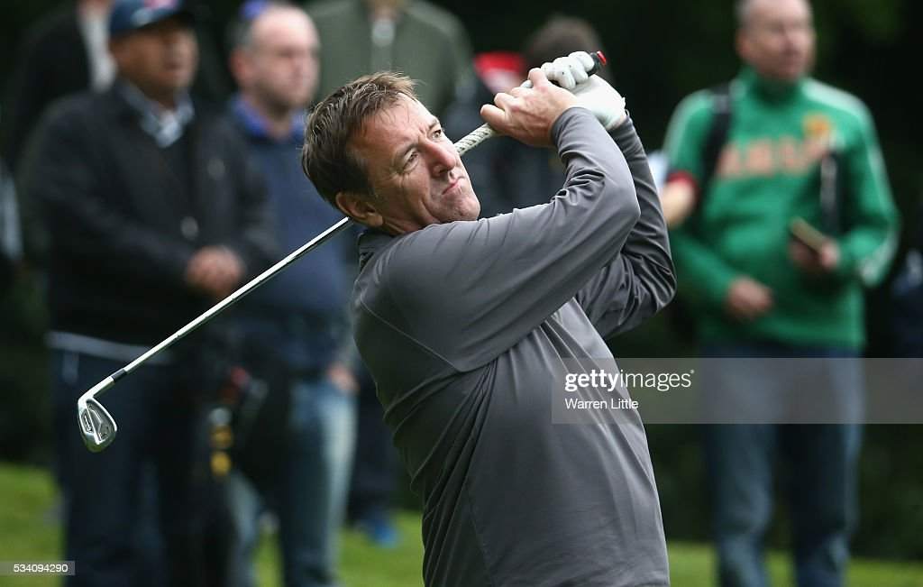 Former footballer Matt Le Tissier tees off during the Pro-Am prior to the BMW PGA Championship at Wentworth on May 25, 2016 in Virginia Water, England.