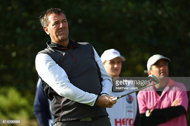 Former footballer Matthew Le Tissier hits his tee shot on the 13th hole during the Hero ProAm at The Grove on October 12 2016 in Watford England