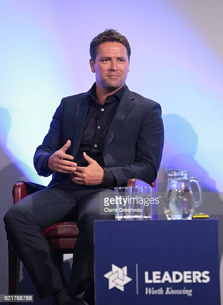 Former footballer Michael Owen speaks during a Aspetar sponsored panel discussion concerning 'The Complexity of the Hamstring Injury' on day one of...