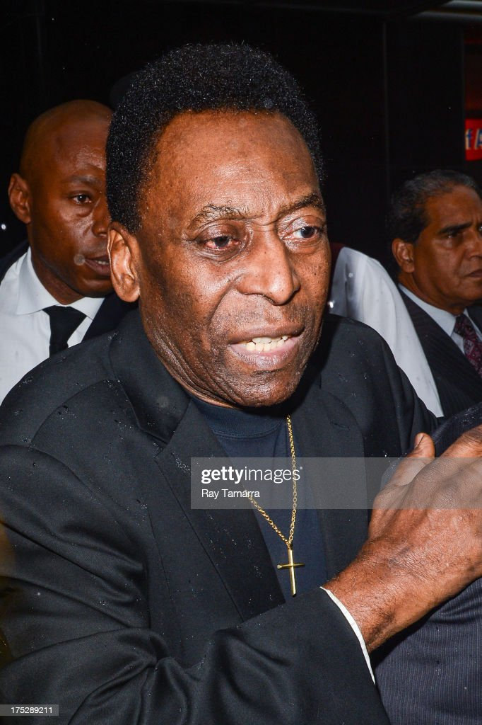 Former footballer Pele leaves the Empire State Building on August 1, 2013 in New York City.