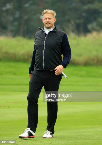 Former footballer Peter Schmeichel in action during the pro am ahead of the British Masters at Close House Golf Club on September 27 2017 in...