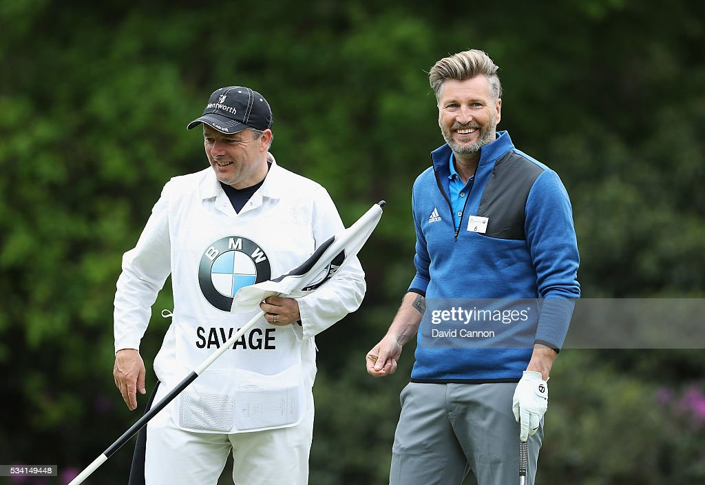 Former Footballer Robbie Savage looks on during the Pro-Am prior to the BMW PGA Championship at Wentworth on May 25, 2016 in Virginia Water, England.