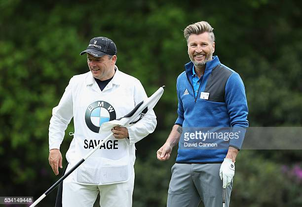 Former Footballer Robbie Savage looks on during the ProAm prior to the BMW PGA Championship at Wentworth on May 25 2016 in Virginia Water England
