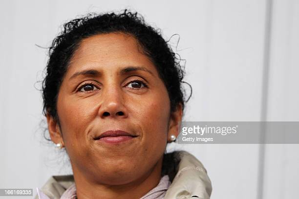 Former footballer Steffi Jones looks on prior to the Women's UEFA U19 Euro Qualification match between U19 Czech Republic and U19 Germany at...