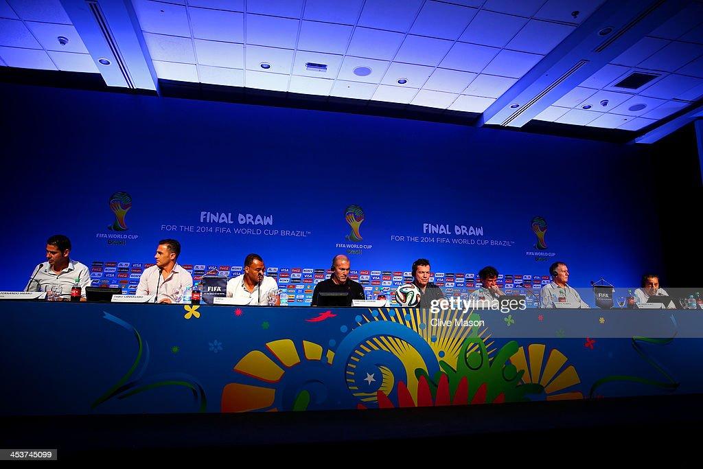 Former footballers Fernando Hierro Fabio Cannavaro Cafu Zinedine Zidane Lothar Matthaus Mario Kempes Sir Geoff Hurst and Alcides Ghiggia attend the...