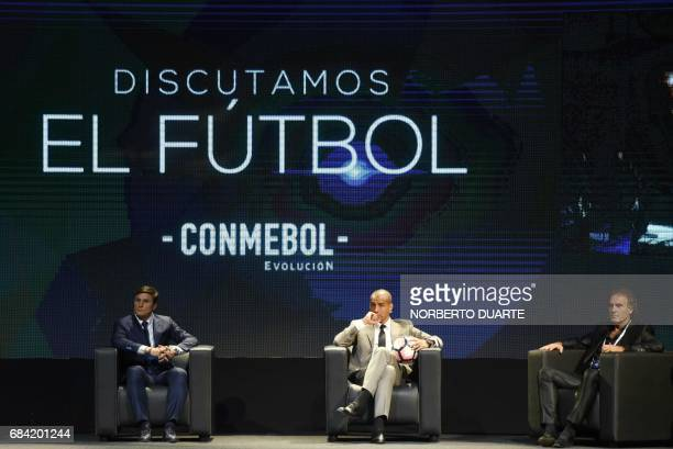 Former footballers Javier Zanetti David Trezeguet and Oscar Ruggeri participate in a meeting to discuss strategies about how the new football should...