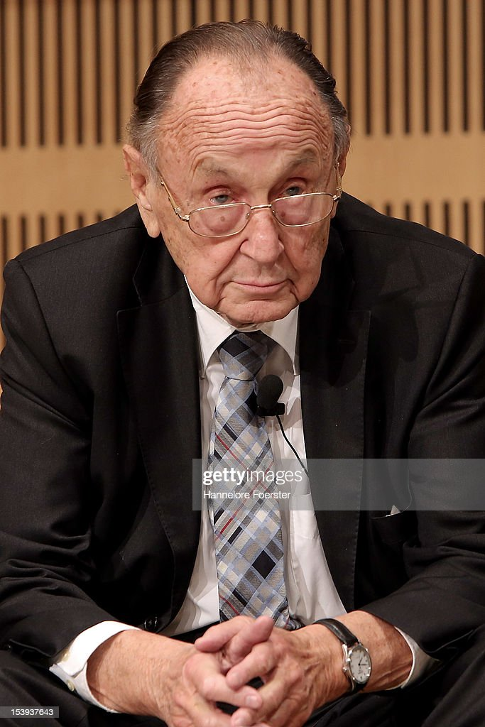 Former foreign minister Hans Dietrich Genscher attends the presentation of Ulrich Wickert's new book titled 'Neugier und Uebermut' during the Frankfurt Book Fair at the Nationalbibliothek on October 11, 2012 in Frankfurt, Germany. The Frankfurt Book Fair is the largest in the world and will run from October 10-14, 2012.