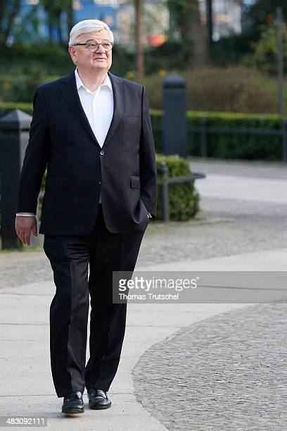 Former Foreign Minister Joschka Fischer arrives at a reception to mark Schroeder's 70th birthday at Hamburger Bahnhof museum on April 6 2014 in...