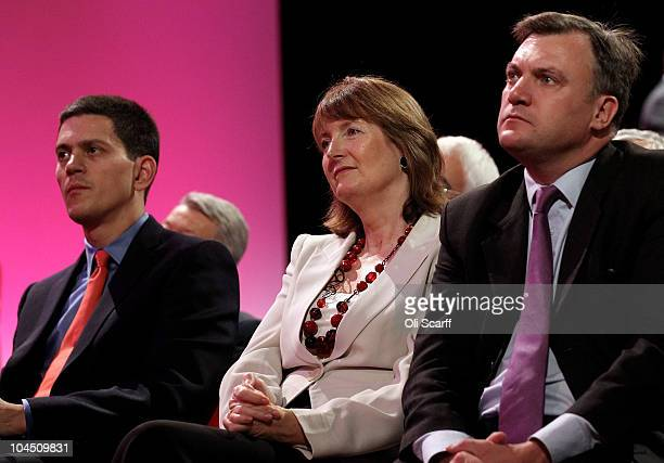 Former Foreign Secretary David Miliband Labour Deputy Leader Harriet Harman and former Education Secretary Ed Balls listens to Labour party leader Ed...