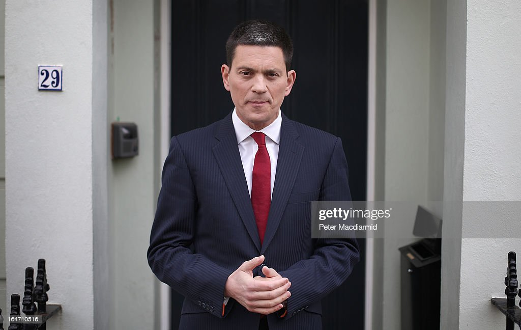Former Foreign Secretary <a gi-track='captionPersonalityLinkClicked' href=/galleries/search?phrase=David+Miliband&family=editorial&specificpeople=206702 ng-click='$event.stopPropagation()'>David Miliband</a> talks to reporters at his home on March 27, 2013 in London, England. Mr Miliband, brother of the opposition Labour Party leader Ed Miliband, has announced that he is to step down as a Member of Parliament and will move to New York to work for the International Rescue Committee.