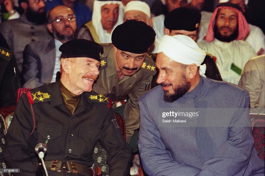 Former former Baath official and deputy to deposed Iraqi president <a gi-track='captionPersonalityLinkClicked' href=/galleries/search?phrase=Saddam+Hussein&family=editorial&specificpeople=121553 ng-click='$event.stopPropagation()'>Saddam Hussein</a>, <a gi-track='captionPersonalityLinkClicked' href=/galleries/search?phrase=Izzat+Ibrahim+al-Douri&family=editorial&specificpeople=718593 ng-click='$event.stopPropagation()'>Izzat Ibrahim al-Douri</a> (L) is shown in this 1999 photograph in Baghdad, Iraq. Arab television network Al Jazeera played an audio tape March 27, 2006 purportedly from al-Douri, in which he urges Arab leaders to boycott Iraq's government and recognizes the resistance.