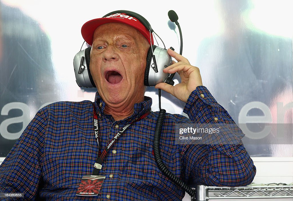 Former Formula 1 driver and non-executive chairman of Mercedes, <a gi-track='captionPersonalityLinkClicked' href=/galleries/search?phrase=Niki+Lauda&family=editorial&specificpeople=218060 ng-click='$event.stopPropagation()'>Niki Lauda</a> watches the timing screens during the final practice session prior to qualifying for the Malaysian Formula One Grand Prix at the Sepang Circuit on March 23, 2013 in Kuala Lumpur, Malaysia.