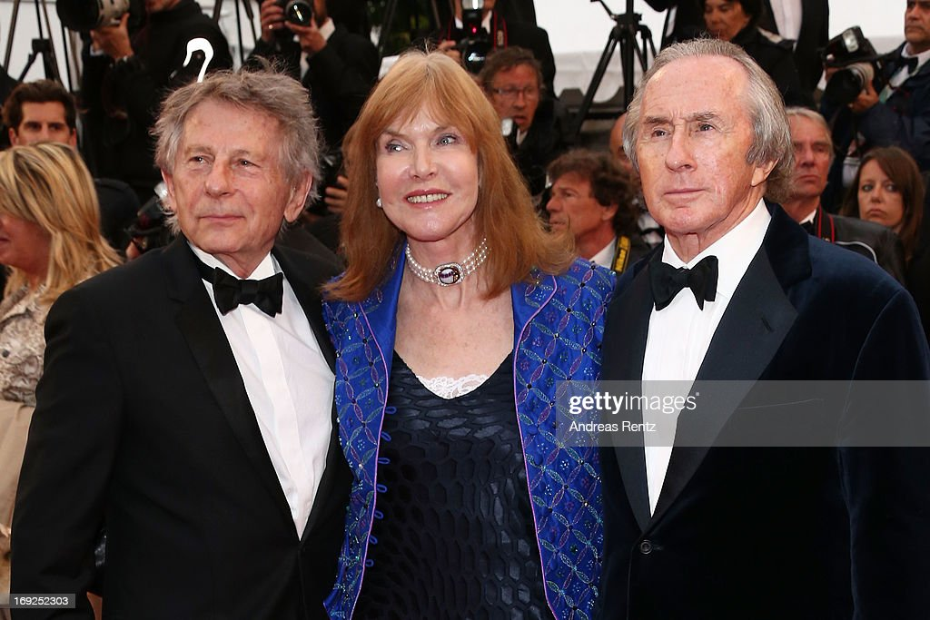 Former Formula 1 driver Sir <a gi-track='captionPersonalityLinkClicked' href=/galleries/search?phrase=Jackie+Stewart&family=editorial&specificpeople=167276 ng-click='$event.stopPropagation()'>Jackie Stewart</a>, his wife Helen and director <a gi-track='captionPersonalityLinkClicked' href=/galleries/search?phrase=Roman+Polanski&family=editorial&specificpeople=207150 ng-click='$event.stopPropagation()'>Roman Polanski</a> attend 'Weekend Of A Champion' Premiere during the 66th Annual Cannes Film Festival at Palais des Festivals on May 22, 2013 in Cannes, France.