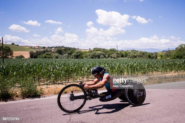 Former Formula One driver and paracyclist Alex Zanardi competes during the bike leg of Ironman 703 Italy race on June 18 2017 in Pescara Italy